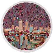 Indianapolis Skyline Abstract 4 Round Beach Towel by Bekim Art