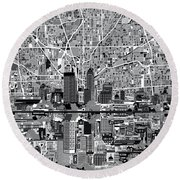 Indianapolis Skyline Abstract 6 Round Beach Towel by Bekim Art