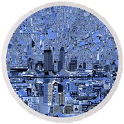 Indianapolis Skyline Abstract 7 Round Beach Towel by Bekim Art