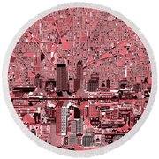 Indianapolis Skyline Abstract 8 Round Beach Towel by Bekim Art
