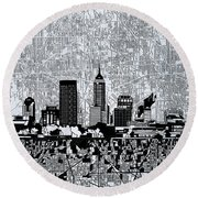 Indianapolis Skyline Abstract 9 Round Beach Towel by Bekim Art