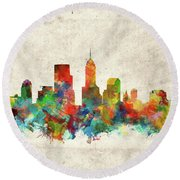 Indianapolis Skyline Watercolor 2 Round Beach Towel by Bekim Art