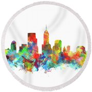 Indianapolis Skyline Watercolor 3 Round Beach Towel by Bekim Art
