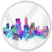 Indianapolis Skyline Watercolor 4 Round Beach Towel by Bekim Art