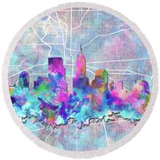 Indianapolis Skyline Watercolor 5 5 Round Beach Towel by Bekim Art