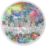 Indianapolis Skyline Watercolor 8 Round Beach Towel by Bekim Art
