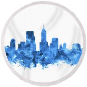 Indianapolis Skyline Watercolor Blue Round Beach Towel by Bekim Art