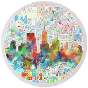 Indianapolis Watercolor Skyline Round Beach Towel by Bekim Art