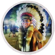 Round Beach Towel featuring the photograph Indians Invade Thailand. Cowboys Too by Mr Photojimsf