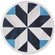 Indigo And Blue Quilt Round Beach Towel