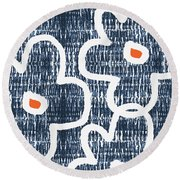 Round Beach Towel featuring the mixed media Indigo And White Jumbo Flowers- Art By Linda Woods by Linda Woods