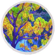 Indigo Autumn Round Beach Towel by Ann Johndro-Collins