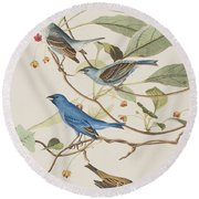 Indigo Bird Round Beach Towel by John James Audubon