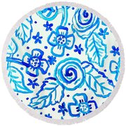 Indigo Blooms Round Beach Towel