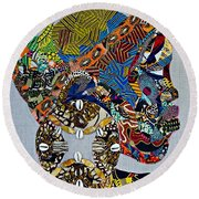 Round Beach Towel featuring the tapestry - textile Indigo Crossing by Apanaki Temitayo M