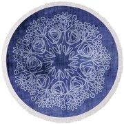 Indigo Mandala 1- Art By Linda Woods Round Beach Towel