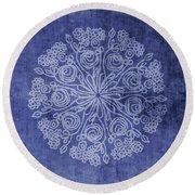 Indigo Mandala 2- Art By Linda Woods Round Beach Towel
