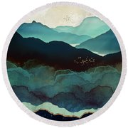 Indigo Mountains Round Beach Towel
