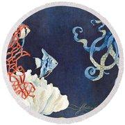 Indigo Ocean - Floating Octopus Round Beach Towel