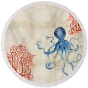 Indigo Ocean - Octopus Floating Amid Red Fan Coral Round Beach Towel