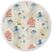 Indigo Ocean - Red Coral Octopus Half Drop Pattern Round Beach Towel by Audrey Jeanne Roberts