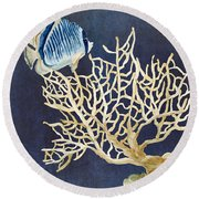 Indigo Ocean - Tan Fan Coral N Angelfish Round Beach Towel