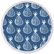 Indigo Pineapple Party Round Beach Towel by Linda Woods