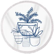 Round Beach Towel featuring the mixed media Indigo Potted Succulents- Art By Linda Woods by Linda Woods