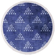 Indigo Triangles 2- Art By Linda Woods Round Beach Towel