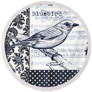Indigo Vintage Songbird 1 Round Beach Towel