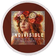 Round Beach Towel featuring the glass art Indivisible by Mia Tavonatti