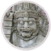Indonesian Statue #2 Round Beach Towel