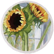 Indoor Sunflowers II Round Beach Towel