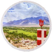 Round Beach Towel featuring the photograph Indus Valley by Alexey Stiop
