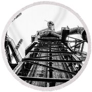Industrial Age - Bethlehem Steel In Black And White Round Beach Towel by Bill Cannon