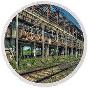 Industrial Archeology Railway Silos - Archeologia Industriale Silos Ferrovia Round Beach Towel