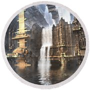 Industrial Waterworks Round Beach Towel