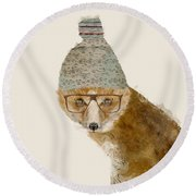 Round Beach Towel featuring the painting Indy Fox by Bri B