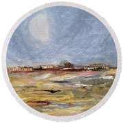 Round Beach Towel featuring the painting Inevitable Epoch by Judith Rhue
