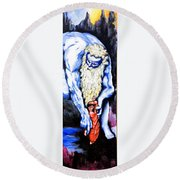 Inferno Round Beach Towel by Victor Minca
