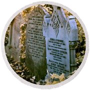 Round Beach Towel featuring the photograph Infrared George Leybourne And Albert Chevalier's Gravestone by Helga Novelli