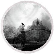 Round Beach Towel featuring the photograph Infrared Gothic Raven On Gate Black And White Infrared Print - Solitude - Gothic Raven Infrared Art  by Kathy Fornal