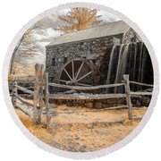 Infrared Grist Mill Round Beach Towel