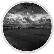 Infrared Longboat Pass Bridge Round Beach Towel