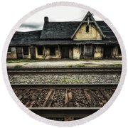 Ingersoll Train Station Color Round Beach Towel