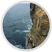 Round Beach Towel featuring the photograph Inishmore Cliff And Dun Aengus  by RicardMN Photography