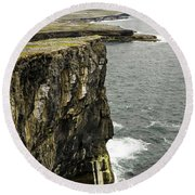 Round Beach Towel featuring the photograph Inishmore Cliffs And Karst Landscape From Dun Aengus by RicardMN Photography