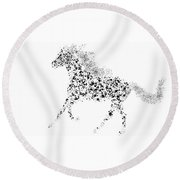 Round Beach Towel featuring the drawing Ink Splattered Stallion by Nick Gustafson