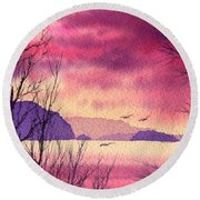 Round Beach Towel featuring the painting Inland Sea Islands by James Williamson
