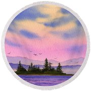 Round Beach Towel featuring the painting Inland Sea Sunset by James Williamson